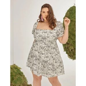Shein All Over Print Milkmaid Dress